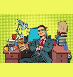 pop art businessman workplace vector image