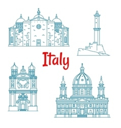 Popular travel landmarks of Italy thin line icon vector