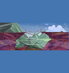 Rain in mountain landscape with suspension bridge vector