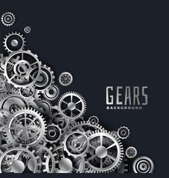 Realistic 3d metallic gears background vector