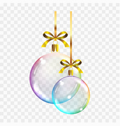 realistic transparent colored christmas balls on vector image
