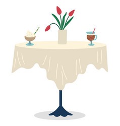 restaurant table with served drinks and flowers vector image