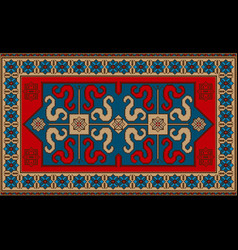 Rug with ethnic pattern dragons on the blue center vector