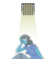 Sad woman in prison vector