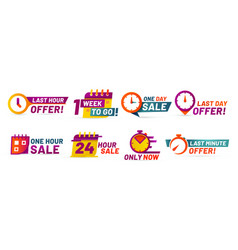 sale countdown badges last minute offer banner vector image