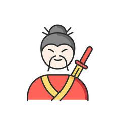samurai rgb color icon asian martial arts fighter vector image