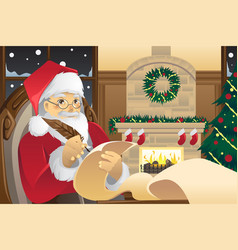 santa claus writing christmas presents list vector image