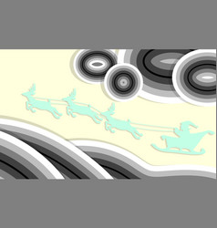santa on sleigh flying on sky move by reindeer vector image