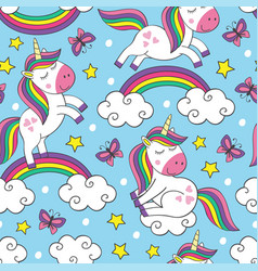 seamless pattern with little unicorns in sky vector image