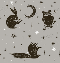 Seamless pattern with stars and animals graphics vector