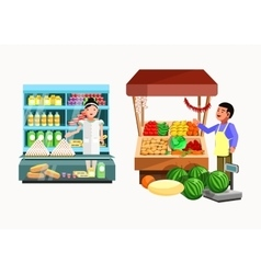 Set of sellers at the counter and stall vector image