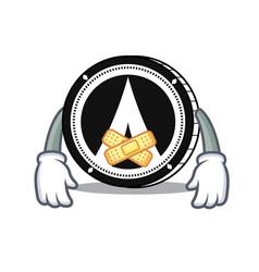 Silent dentacoin mascot cartoon style vector