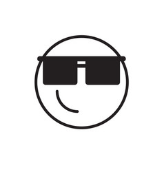 smiling cartoon face wear sun glasses positive vector image
