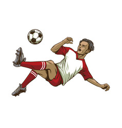 Soccer player doing overhead kick shot vector