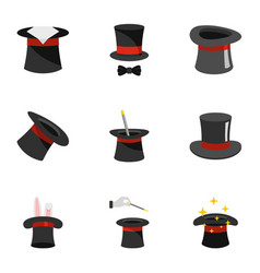 Sorcerer icons set flat style vector