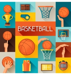 Sports background with basketball icons in flat vector
