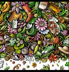 Spring hand drawn doodles frame design vector
