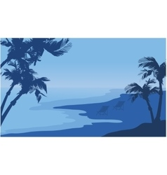 Summer holiday seaside scnery silhouette vector