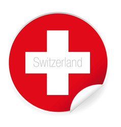 switzerland flag label sticker vector image