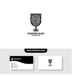 Tech bar logo and business card template vector