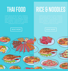 thai cuisine flyers with asian dishes vector image