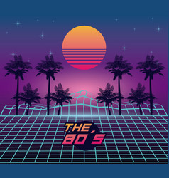 The 80s landscape style vector