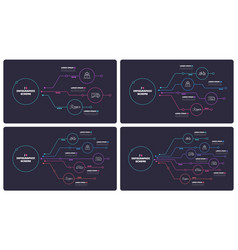 thin line infographic schemes with 3 4 5 6 options vector image