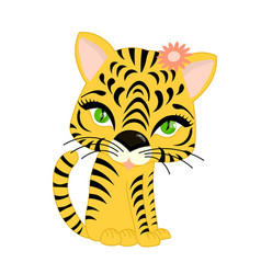 Tiger cub on a white background character vector