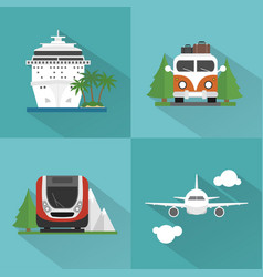 travel transport set modern concept design flat vector image