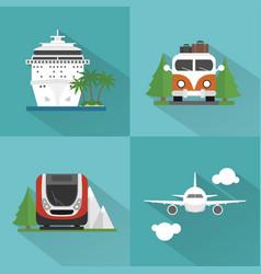 Travel transport set modern concept design flat vector