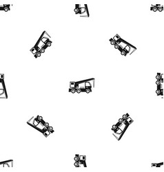 truck mounted crane pattern seamless black vector image vector image