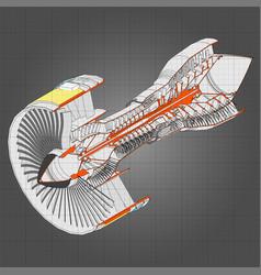turbo jet engine aircraft line vector image
