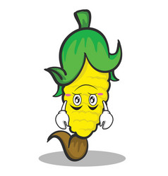 Upside down face sweet corn character cartoon vector