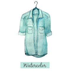 watercolor hand draw blue denim shirt isolated on vector image