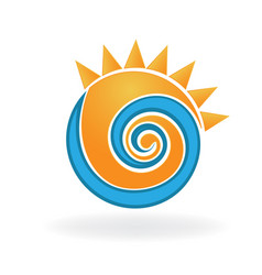 wave and sun vacation icon vector image