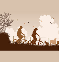 Weekend cyclists vector