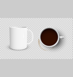 white coffee cup and cup view from top vector image