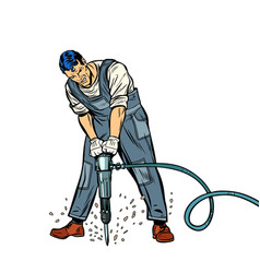 Working man with jackhammer vector