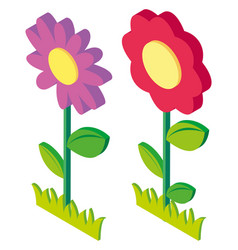 3d design for colorful flowers vector image vector image