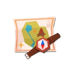 Camping map and compass vector