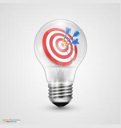 Creative idea darts in light bulb vector