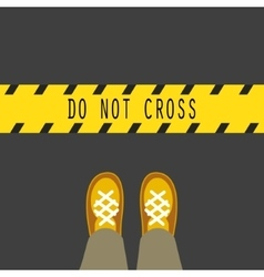 Do not cross the line road sign vector image