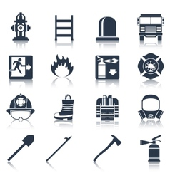 Firefighter Icons Black vector image vector image