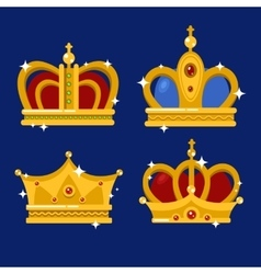 Set of gold king crown or pope tiara vector image