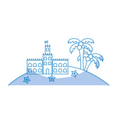 Silhouette castle of the sand near to the palms vector