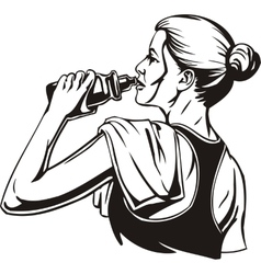 Woman drinking from a shaker - sports nutrition vector image vector image
