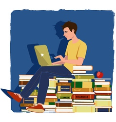 Young man studying vector image vector image