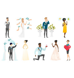 bride and groom set vector image vector image