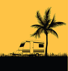 camping in nature leisure with palm in colorful vector image