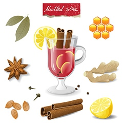 mulled wine icons vector image vector image